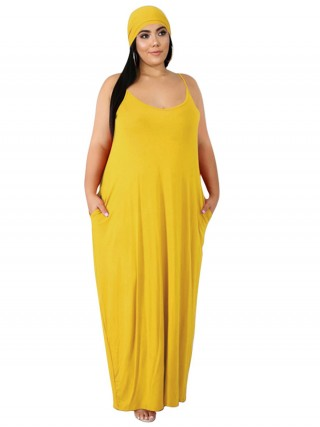 Dreamy Yellow Queen Size Dress Plunge Neck Pocket Cheap Online