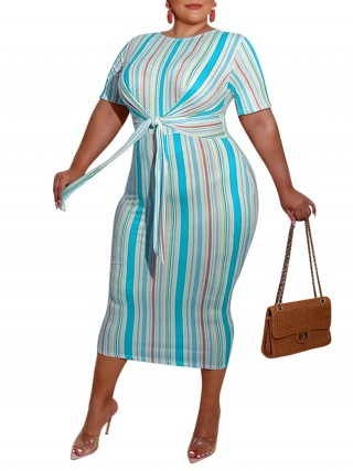 Striking Blue Striped Front Tied Large Size Dress Natural Fit