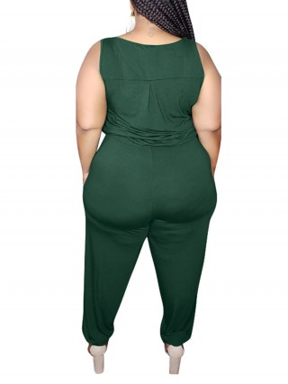 Vigorous Blackish Green Waist Tie Jumpsuit Plus Size Pockets