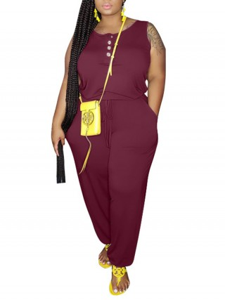 Brightly Wine Red Plus Size Jumpsuit Sleeveless Knitted Form Fit