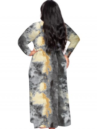 Black Plus Size Maxi Dress Tid-Dyed Printed Latest Trends
