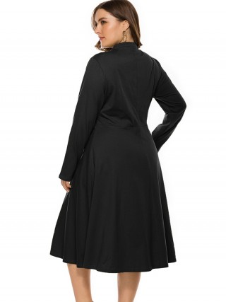 Multicolored Black Tie Large Size Dress Long-Sleeved
