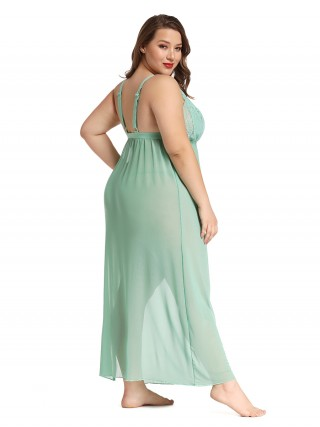 Daring Green Plus Size V Neck Babydool with Thong Trendy Online