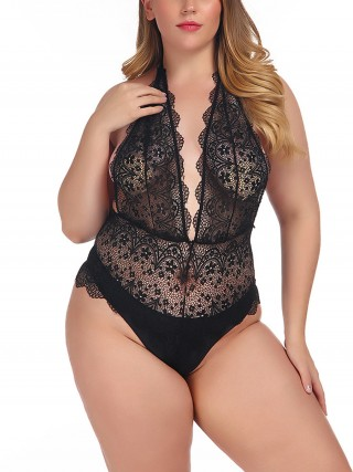 Push Up Black Plunge Collar High Cut Lace Teddy Chic Trend