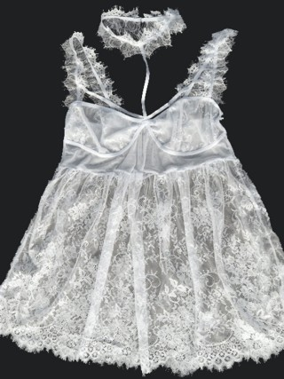 Pleasant White Large Size Babydoll Eyelash Lace Intimate Fashion