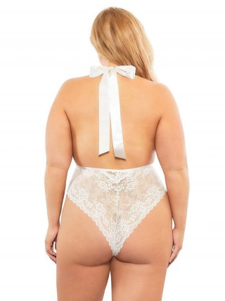 Naughty White Solid Color Teddy Queen Size Deep-V For Lady