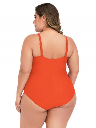 Eye Catcher  Orange Solid Color Queen Size Swimwear Fashion Sale