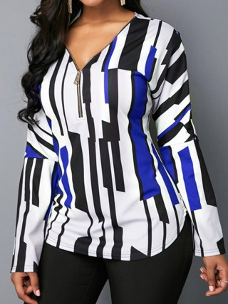 Distinct Blue Full Sleeves Queen Size Loose Shirt Under The Sun