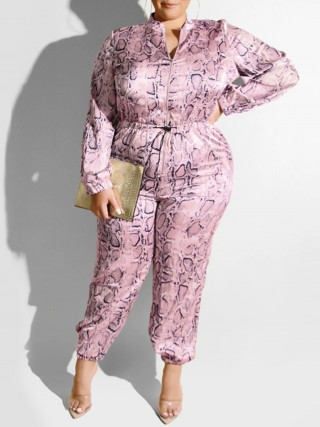 Young Girl Pink Jumpsuit Fitted Waist Stand-Up Collar Online