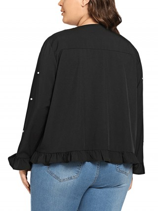 Cozy Black Long Sleeve Ruffles Pearls Jacket Comfortable