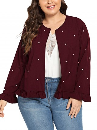 Favorite Wine Red Front Open Jacket Ruffled With Pearl