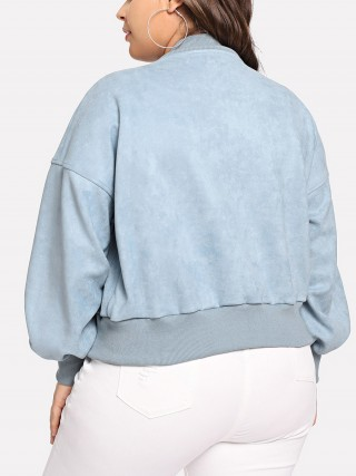 Ultra Sexy Blue Long Sleeve Zipper Jacket Plus Size Casual Fashion