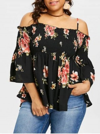Unique Black Sling Plus Size Top Off Shoulder Feminine Elegance