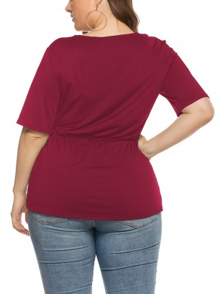 Sophisticated Red V Neck Irregular Hem T-Shirt Large Size Cheap