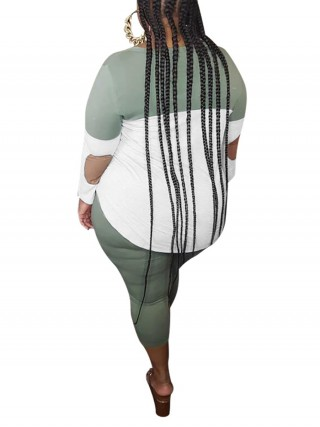 Consummate Green Color Block Top And Large Size Pants Leisure