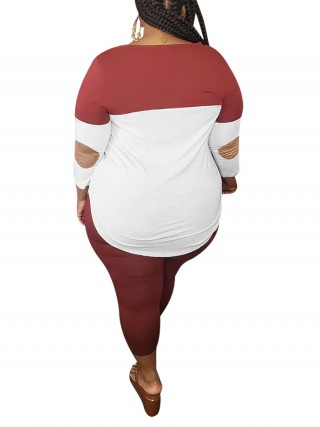 Geometrical Red V-Neck Plus Size T-Shirt And Pants Set Loose