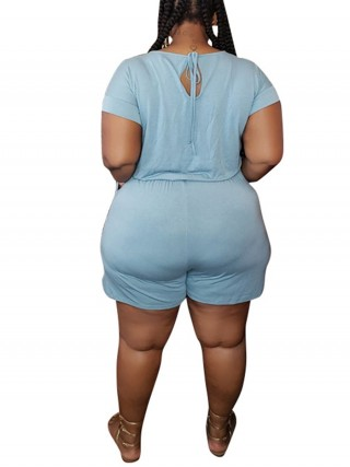 Formal Sky Blue Cut Out Drawstring Big Size Jumpsuit Visual Effect