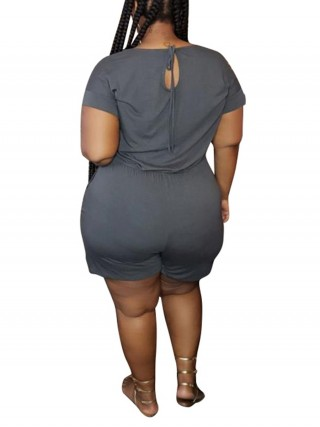 Gorgeous Gray Solid Color Jumpsuit Round Collar Best Materials