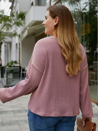 Sweet Light Pink Full Sleeve Solid Color Ruches Shirt Fashion Trend