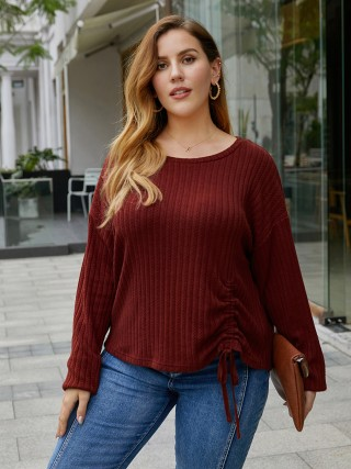 Attractive Dark Red Queen Size Shirt Pleated Crew Neck Elasticity