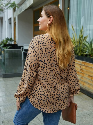 Invigorative Khaki Spot Pattern Big Size Blouse V-Collar For Vacation