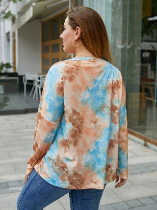 Favorite Button Tie Dyed Print Top Large Size Leisure Time