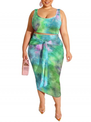 Stretchy Tie-Dyed Twist Front Skirt Set Super Sexy