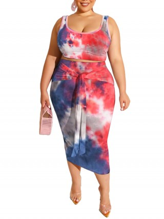 Entrancing Skirt Set Tie-Dyed Maxi Length Tie Leisure Fashion