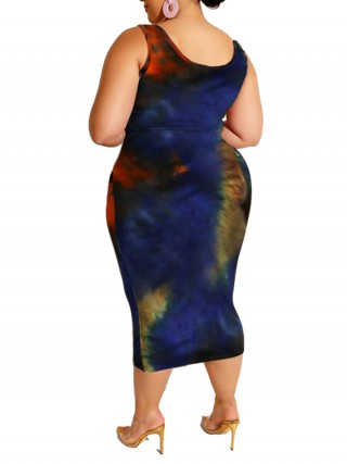 Colorful Skirt Suit Plus Size Tie Sleeveless Womens Apparel