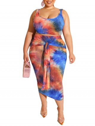 Eye Catching Crop Top Maxi Skirt Big Size Natural Fit