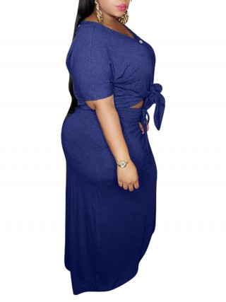 Exquisitely Royal Blue Button V-Neck Top Skirt Two-Piece Fashion