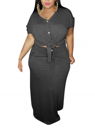 Dreamy Gray Knit Top Plus Size Bodycon Skirt Set For Traveling