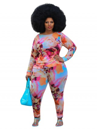 Pink Plus Size Tie Dyed Top And Pants Set Elasticity