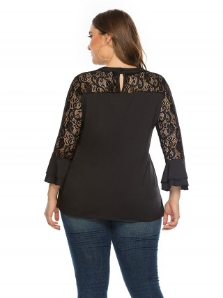 Inviting Black Lace Splicing Top Ruffle Large Size For Women