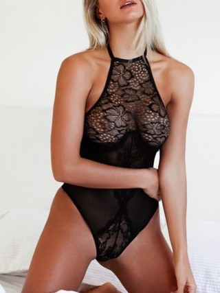 Sexy Halter Neck Mesh See-Through Teddy Lingerie For Women