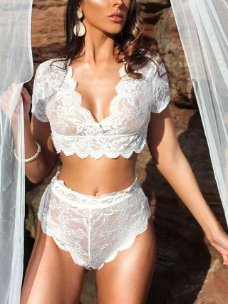 Sexy White Lace Half Sleeve Lingerie Two Piece For Women