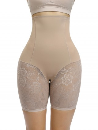Unique Nude Color High Rise Lace Patchwork Butt Lifter