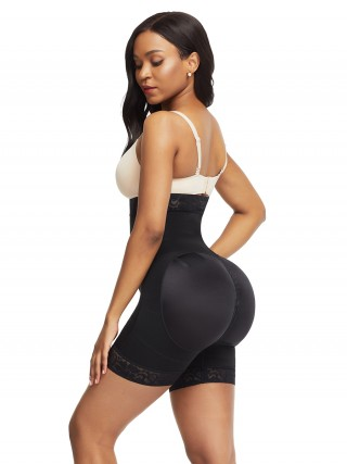 Fitness Black Lace Trim High Waist Shapewear Shorts Smooth Silhouette