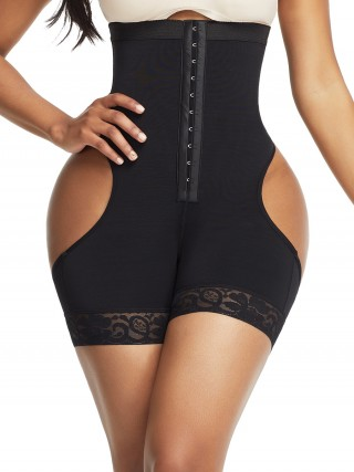 Pretty Black High Waist Open Butt Shapewear Shorts Hidden Curves