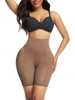 Sensational Light Coffee Color Butt Enhancer Seamless Mesh Solid Color