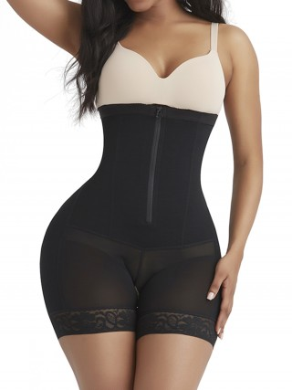 Fitted Curve Black High Waist Butt Enhancer Zipper Lace Stretch