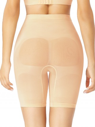 Apricot Large Size Seamless Shapewear Shorts Natural Shaping