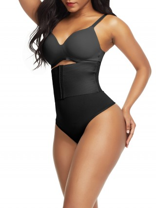 Black Seamless Shapewear Thong High Wsiat Curve Smoothing
