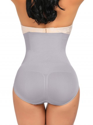 Shape My Day Gray Sheer Mesh High Rise Panty Shaper Figure Shaping