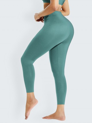 Light Green Waist Trainer 2-In-1 High Waist Legging Fitness