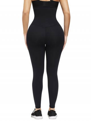 Black Hooks Waist Trainer Shapewear Leggings Smooth Silhouette
