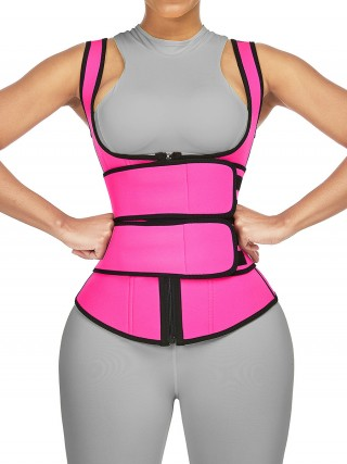Rose Red Double Belts Sweat Shaper Vest Slimming Waist