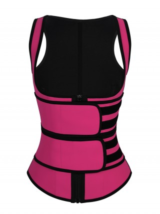 Rose Red Double Belt Zipper Latex Waist Trainer Vest Hourglass