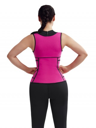 Irresistibly Rose Red 3 Layers Neoprene Vest Shaper Sticker Hooks Shapewear