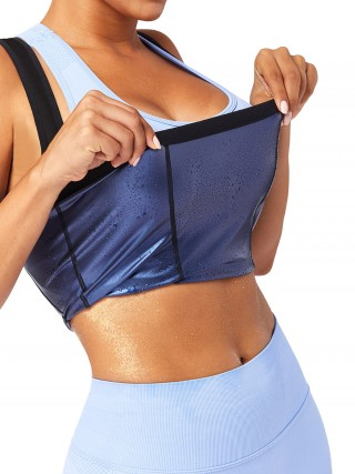 Wide Strap Sweat Vest Blue Plus Size Midsection Control